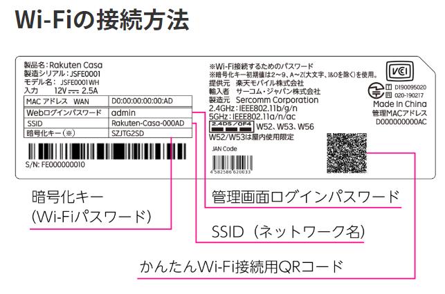 Rakuten CasaのWiFiに接続する方法