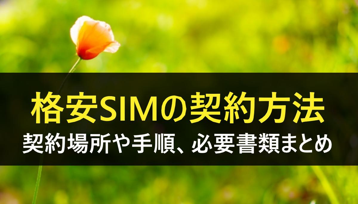 格安SIM契約方法